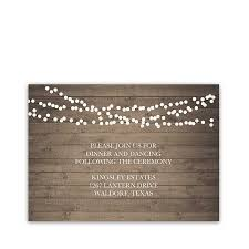 String Of Lights Rustic Wedding Invitation Rustic Wedding Reception Details Insert Cards String Lights