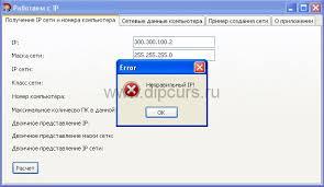 Курсовая работа Компьютерные сети cbuilder ip адреса dipcurs Курсовая компьютерные сети присутствие проверок при введении не правильных данных расчета