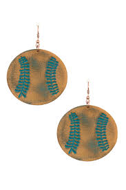 genuine leather etched baseball earring