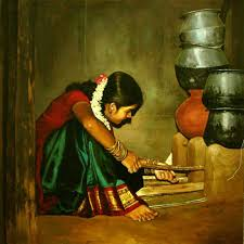 tamil woman painting by ilayaraja oil painting