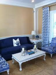 blue sofa living room. Coastal-Inspired Yellow Living Room Is Classic, Elegant Blue Sofa F
