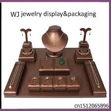 Window Display Stands Superioe Brown Faux Leather Wooden Jewelry Display Set Stand 33