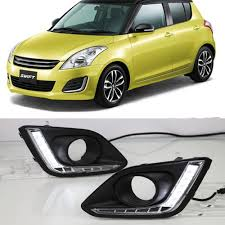 Swift Car Led Lights Us 48 01 10 Off Car Flashing 2pcs For Suzuki Swift 2014 2015 2016 Car Led Drl Driving Daytime Running Lights White Car Styling Fog Lamp Cover In Car