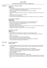 Electrician Apprentice Resume Samples Electrical Helper Resume Samples Velvet Jobs