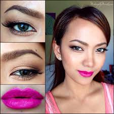 simple neutral eye makeup with a bright pink lipstick