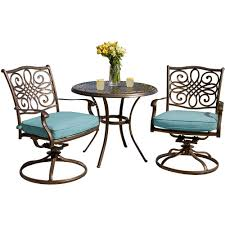 hanover traditions 3 piece outdoor bistro set with round cast top table and swivel