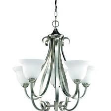 progress lighting torino 5 light brushed nickel chandelier with etched glass
