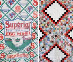 Feed Sacks: A Sustainable Fabric History - Etsy Journal & Left: Chicken feed sack. Right: Feed sack quilt. Adamdwight.com