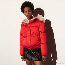 functional jackets jacket bright red 2017 coach icon puffer with shearling new for women