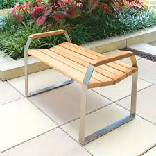 bond 3 ft backless contemporary teak bench with arms