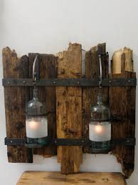 wooden panel with glass bottles chantelle lighting bespoke lighting uk