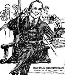 telephone cartoon by journalist marguerite martyn shows a man using a candlestick telephone 1917