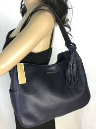 michael kors ashbury large slouchy leather shoulder bag admiral blue nwt