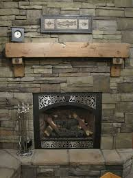 rustic fireplace mantel shelf corbels antique bolts craftsman cabin