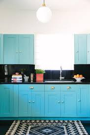 kitchens with black cabinets. Turquoise Blue Kitchen With Black Countertops And Backsplash Kitchens Cabinets