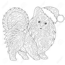 Farbtonseite Von Pomeranian Hundesymbol Von 2018 Chinese New Year