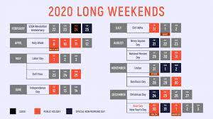 list long weekends in 2020