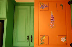 Lupine Hand Painted Inside Kitchen Cabinet Door, Cushing, ME