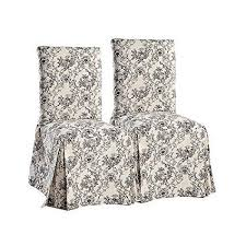 toile dining chair slipcovers set of 2 black on beige