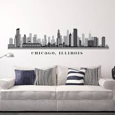 chicago illinois skyline removable wall decal art vinyl l n