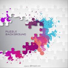 Color Splatter Jigsaw Background Vector Free Download