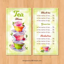 Free Tea Menu Template With Watercolor Style Svg Dxf Eps Png