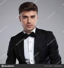 Black Suit Light Grey Tie Portrait Young Businessman Black Suit Black Bowtie Light