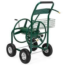 best choice s 300ft water hose reel cart w basket for outdoor garden heavy