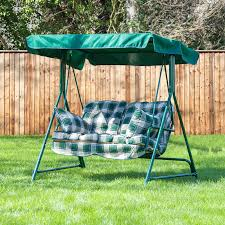 garden swing seat cushions uk. mosca 2 seater swing seat - green frame with classic cushions garden uk