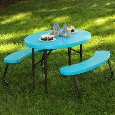 oval 1 piece glacier blue kids picnic folding table