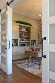 wall cabinets for office. Office With Sliding Barn Doors And Gray, Painted, Built-in Wall Cabinets For T