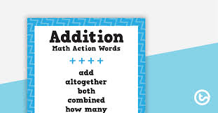 Addition And Subtraction Key Words Anchor Chart Math Action Words Addition Subtraction Multiplication