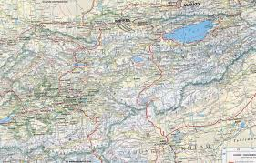 map geographic  central asia  kyrgyzstan  khirgizstan road map