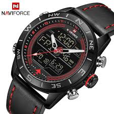 image description naviforce og digital led watch leather