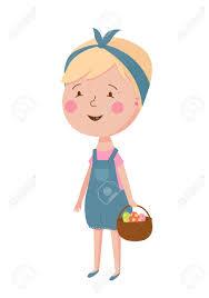 バスケットで美しい少女のかわいいベクター イラストです異なる