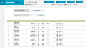 Project Estimate Template Excel Cost Estimator Excel Project Management Templates