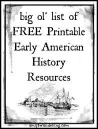 Small Picture Early American History Printable Resources Amys Wandering