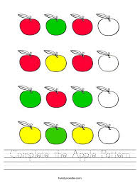Apple Pattern Adorable Complete The Apple Pattern Worksheet Twisty Noodle