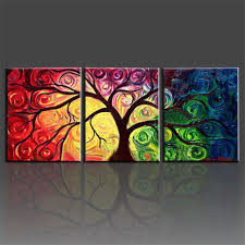money tree abstract oil painting on canvas 3 panel handmade modern paintings indoor decoration