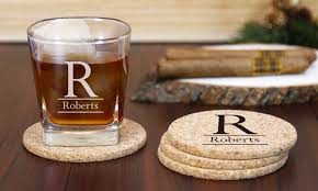 Custom cork coasters Wedding Gifts Up To 69 Off Custom Cork Coasters And Whiskey Glass Productgraph Demo Up To 69 Off On Customized Coasters And Glass Groupon Goods