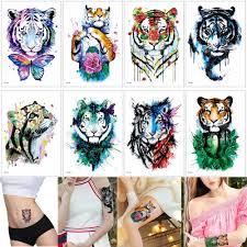 цветной рисунок тигр наклейки татуировки акварель милые животные временные