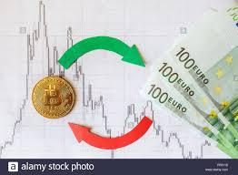 Exchange Of Virtual Money Bitcoin On Euro Bills Red Green