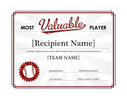 Baseball Award Certificate Template