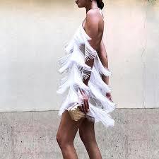 <b>Sexy</b> White <b>Tassel Backless</b> Sleeveless Mini <b>Dress</b> – Oikifashion