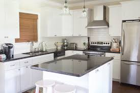 white shaker kitchen cabinets with granite countertops. House Tour, Black And White Kitchen, Shaker Cabinets, Kitchen Design, Cabinets With Granite Countertops W