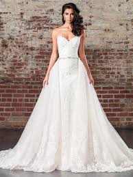 Straight Beaded Lace Wedding Gown With Dramatic Detachable Train