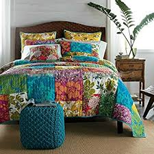 Amazon.com: Tache Floral Cotton 3 Piece Colorful Flower Power ... & Tache Floral Cotton 3 Piece Colorful Flower Power Party Quilt Set, Cal King Adamdwight.com
