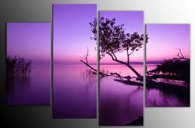 Extra Large Purple Toned Lake Scenic Canvas Wall Art Picture 60 inch 4 Panel