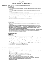 Floor Supervisor Resume Samples Velvet Jobs