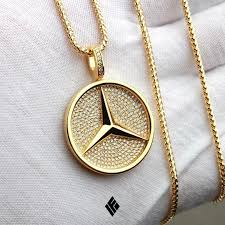 solid 14k yellow gold mercedes benz pendant custom made to order